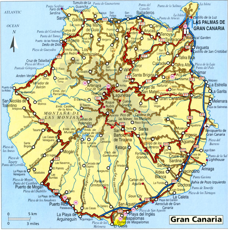 kart over gran canaria Spania Fakta Kart kart over gran canaria